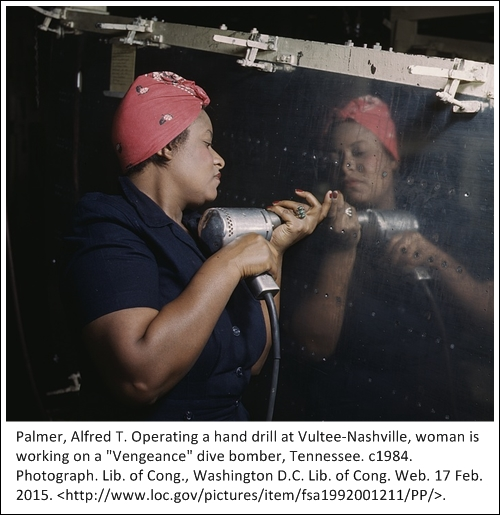 "Caption: Palmer, Alfred T. Operating a hand drill at Vultee-Nashville, woman is working on a ""Vengeance"" dive bomber, Tennessee. c1984. Photograph. Lib. of Cong., Washington D.C. Lib. of Cong. Web. 17 Feb. 2015. < http://www.loc.gov/pictures/item/fsa1992001211/PP/>."