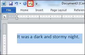 Word document with text and speak icon highlighted