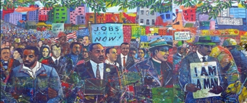 colorful mural of a civil rights march