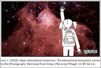 Levi, L. (2010). Open Educational Resources: The Educational Ecosystem Comes to Life [Photograph]. Retrieved from https://flic.kr/p/7Efwg5. Creative Commons BY-SA 2.0.