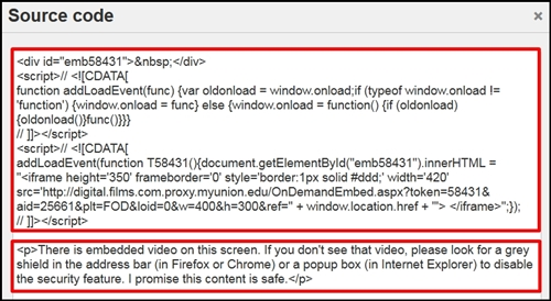 Video embed code and note