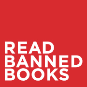 "red square with bold, white text saying, ""read banned books"""