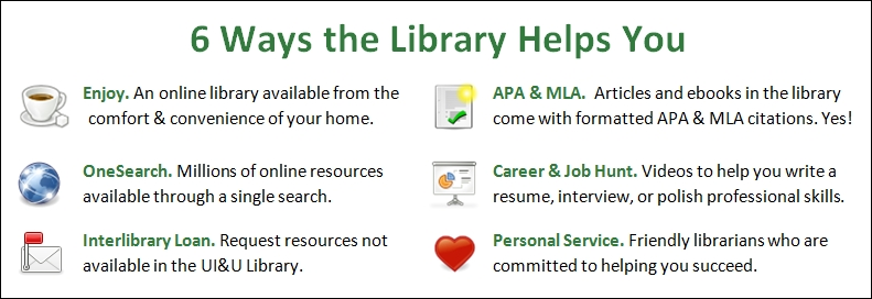 Here are 6 Ways the Library Helps You: 1) It's an online library available from the comfort & convenience of your home. 2) OneSearch allows you to search millions of online resources through a single search. 3) Interlibrary loan is available to request resources not available through the UI&U Library. 4) Articles and ebooks in the library come with formatted APA & MLA citations. Yes! 5) Career and job hunt videos are available to help you write resumes, interview, or polish professional skills 6) We are friendly librarians committed to help you succeed.