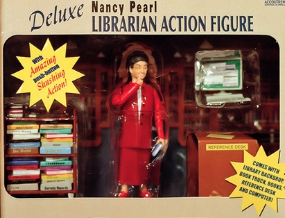 Nancy Pearl librarian action figure.