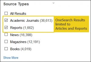 "OneSource Source Type Limiter with the ""Academic Journals"" and ""Reports"" check boxes selected."