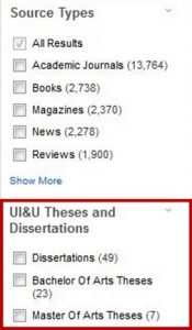 Image of UI&U Theses and Dissertations Limiter in OneSearch