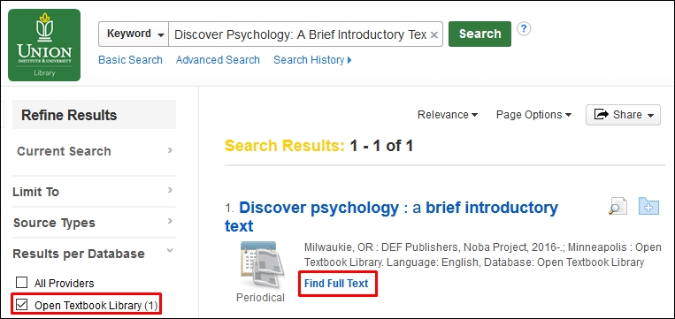 Open Textbook in the OneSearch Results