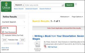 peer review limiter in OneSearch