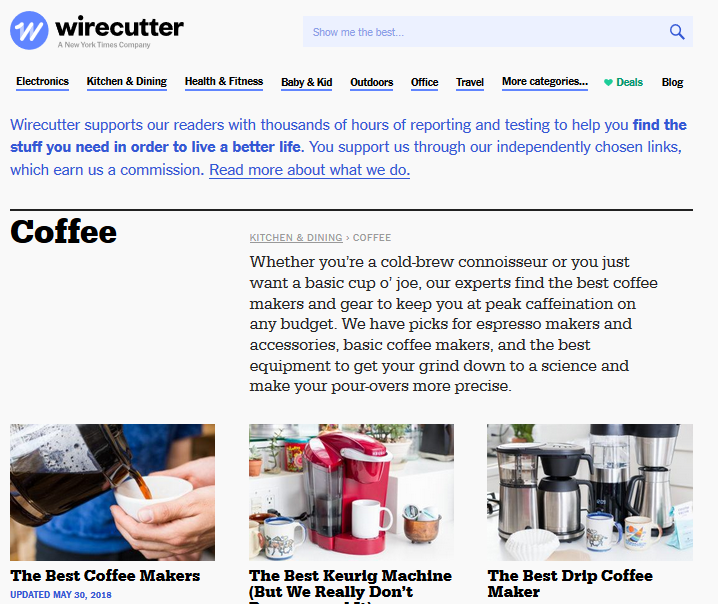 Wirecutter website