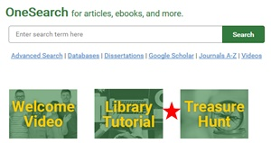 You can access the library tutorial and treasure hunt from the homepage on the library website
