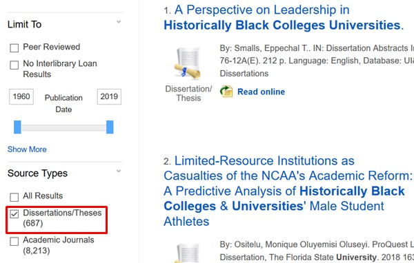 "Select the Dissertations/Theses limiter in sidebar to limit search results. Click the ""show more"" limiter if it is not visible."