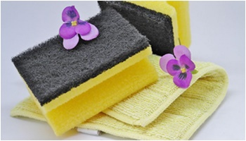 yellow sponges with violet flowers