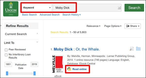 Search for the book Moby Dick.