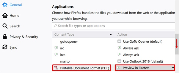 Make sure the Portable Document Format (PDF) browser application is set to Preview in Firefox.