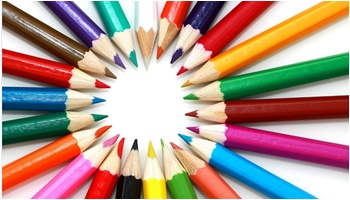 Colorful Pencils Arranged in a Circle