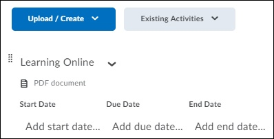 Brightspace interface displaying the start date, due date, and end date.